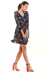 Granatowa Kwiatowa Sukienka Mini na Lato