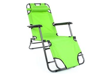 Leżak ogrodowy składany zielony, krzesło ogrodowe regulowane