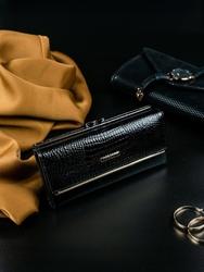 Portfel damski skórzany lakierowany czarny lorenti - czarny