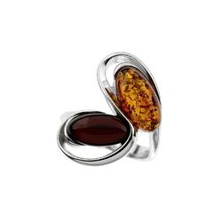 pierścioneksrebrny z bursztynami rozmiar 12