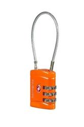 Kłódka ze stalową linką na zamek szyfrowy z systemem tsa - orange