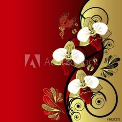 Obraz na płótnie canvas trzyczęściowy tryptyk kwiatowy streszczenie tło: gałąź orchidei i ptak