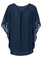 Bluzka z koronkowymi wstawkami bonprix ciemnoniebieski