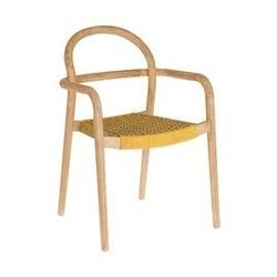 Drewniane krzesło ogrodowe cherry musztardowe