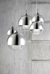 Lampa wisząca 5 kul niklowano-transparentnych z kryształami fermi maytoni modern p140-pl-170-5-n