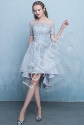 Szara sukienka hiszpanka z wydłużonym tyłem 0177-1