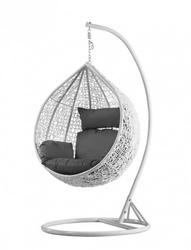 Fotel wiszący bujany kosz huśtawka kokon gniazdo biały stojak