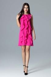 Fuksja wyjściowa sukienka trapezowa z pionowymi falbankami