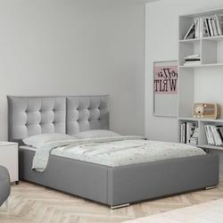 Klasyczne łóżko tapicerowane do sypialni bergvik z pikowanym 2 częściowym zagłówkiem