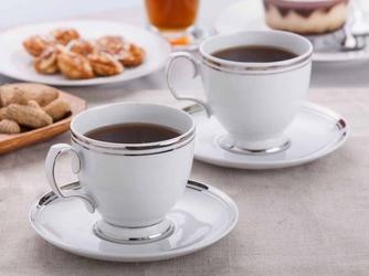 Komplet filiżanek do kawy ze spodkiem porcelana mariapaula platynowa linia, zestaw 2 filiżanek 220 ml opakowanie prezentowe