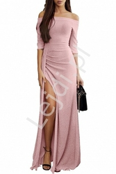 Połyskująca seksowna sukienka wieczorowa z błyszczącą nitką - jasny róż 934