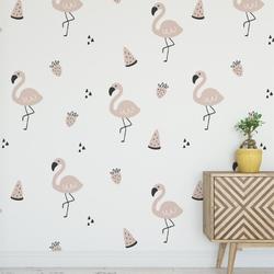 Tapeta na ścianę - minimal flamingo , rodzaj - próbka tapety 50x50cm