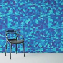 Blue triangle - tapeta ścienna , rodzaj - tapeta flizelinowa laminowana