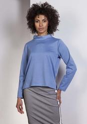 Niebieska wyjściowa trapezowa bluzka ze stójką