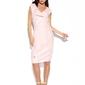 Elegancka wizytowa sukienka z pionową falbanką - pudrowa