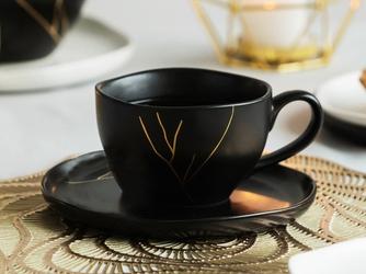 Filiżanka do kawy porcelanowa ze spodkiem altom design magnific 200 ml czarna