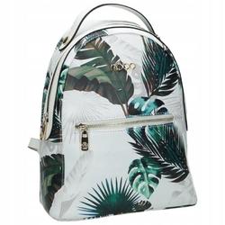 Plecak damski z printem roślinnym nobo g2740 - biały  zielony