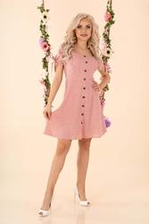 Sukienka w białe groszki z guzikami - różowa