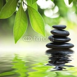 Obraz na płótnie canvas trzyczęściowy tryptyk piramida zen kamienie na powierzchni wody, zielone liście nad nim