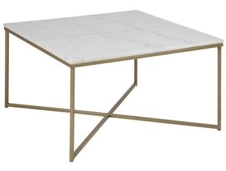 Kwadratowy stolik kawowy na złotej podstawie alisma biały marmur