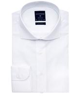 Elegancka biała koszula męska taliowana, slim fit o splocie typu panama 39