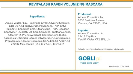 Revitalash deluxe lash kit: maskara raven 3.0ml i zalotka
