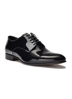 Eleganckie czarne skórzane buty męskie do smokingu - lakierki 40,5