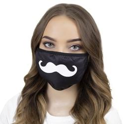 Maska maseczka czarna ochronna wielorazowa wąsy