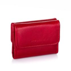 Mały portfel damski ze skóry naturalnej brodrene a-07 czerwony