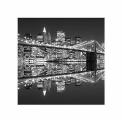 New york brooklyn bridge night bw - reprodukcja