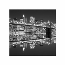 New york brooklyn bridge night bw - reprodukcja