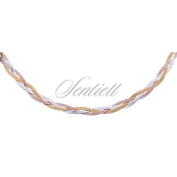 Naszyjnik srebrny 925 taśma pleciona warkocz ø 024 - złoto i różowe złoto - 2,9 mm