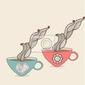 Plakat kubek kawy i herbaty z kwiatowym wzorem. background cup. hot drin