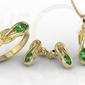Zestaw: pierścionek, kolczyki i wisiorek z żółtego złota ze szmaragdami bp-69z-zestaw - żółte  szmaragd