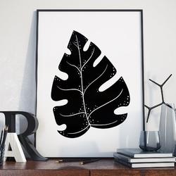 Plakat w ramie - black monstera , wymiary - 30cm x 40cm, ramka - czarna