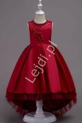 Suknia dla dziewczynki z trenem w kolorze wina