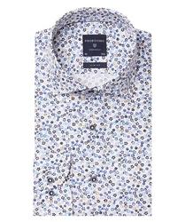 Biała koszula profuomo w kwiecisty wzór slim fit 45