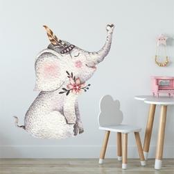 Naklejka na ścianę - lovely elephant , wymiary naklejki - szer. 60cm x wys. 75cm