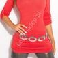 Dzianinowa koralowa bluzka  sweter z podwijanymi rękawkami, 8011