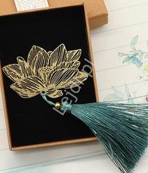 Zakładka do książki, czasopism, ażurowy kwiat lotosu