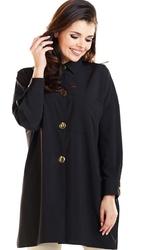 Czarna oversizowa koszula z ozdobnymi guzikami