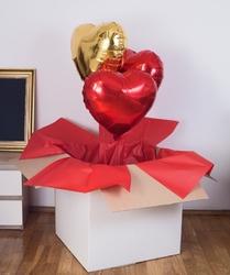 Balony z helem w pudełku - czerwone złoto