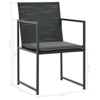 Zestaw ogrodowy stół + krzesła 6 osób parta czarny