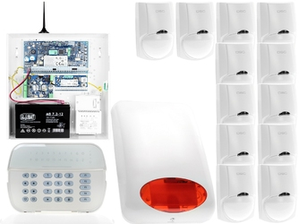 Za12552 zestaw alarmowy dsc 12x czujnik ruchu manipulator led powiadomienie gsm