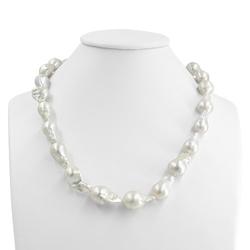 Sumiko, naszyjnik z białych pereł barokowych