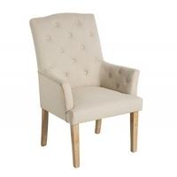 Krzesło chesterfield z podłokietnikami beżowe
