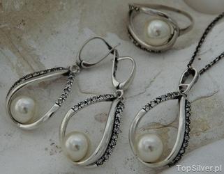 Balena - srebrny komplet perły i kryształki