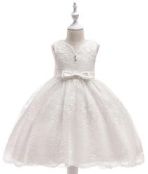 Biała koronkowa sukienka dla dziewczynki z kokardami na chrzciny, na komunię, do sypania kwiatków