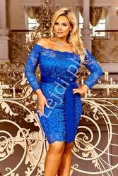 Szafirowa koronkowa sukienka plus size z paseczkiem - veronica