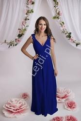 Sukienka wieczorowa chabrowa z gipiurową koronką na ramionach, 2103